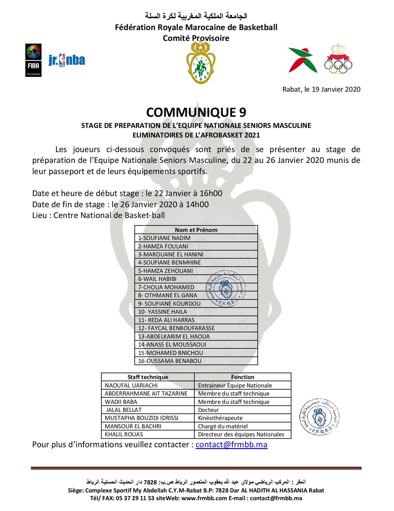 COMMUNIQUE 9 (STAGE DE PREPARATION DE L'ENSM) éliminatoires Afrobasket-2021)