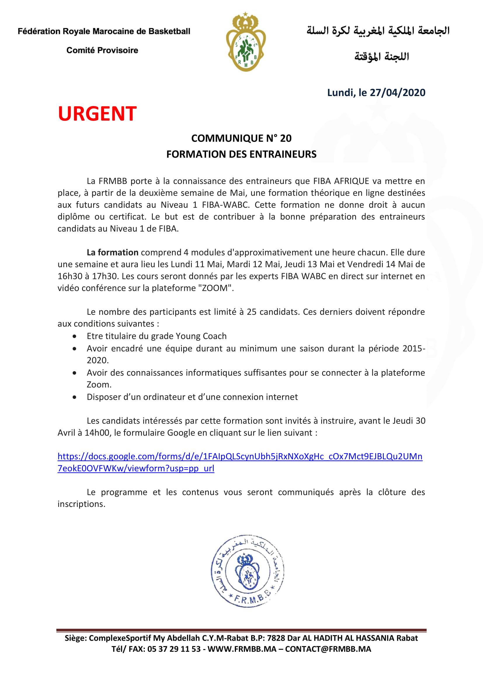 communiqué N° 20 (Convocation stage des entraîneurs On-Line FIBA Level 1)-1